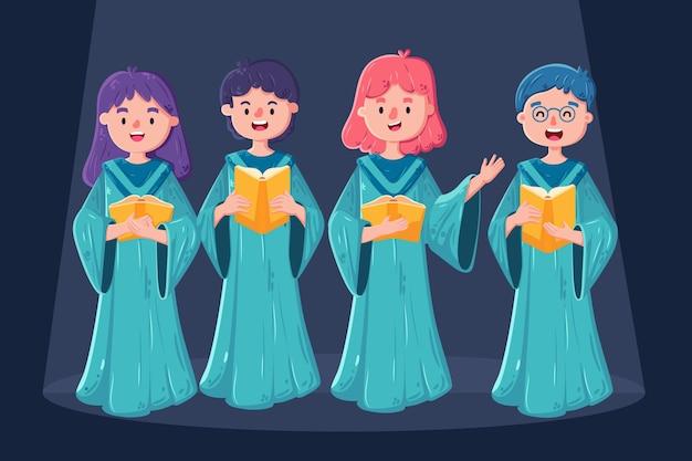 Grupo ilustrado de pessoas cantando em um coro gospel