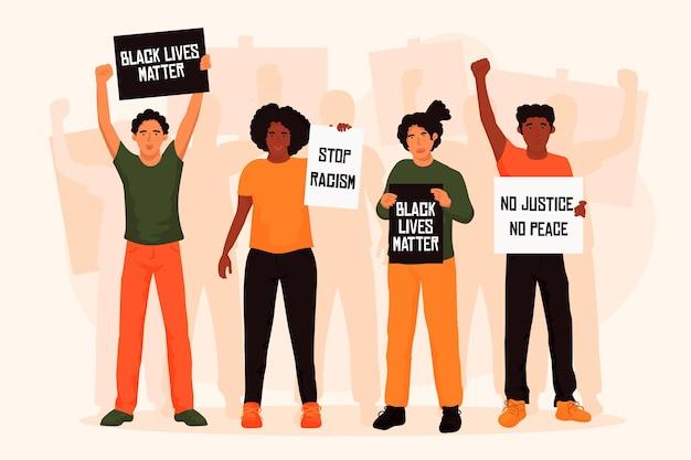 Grupo ilustrado de pessoas que protestam contra o racismo