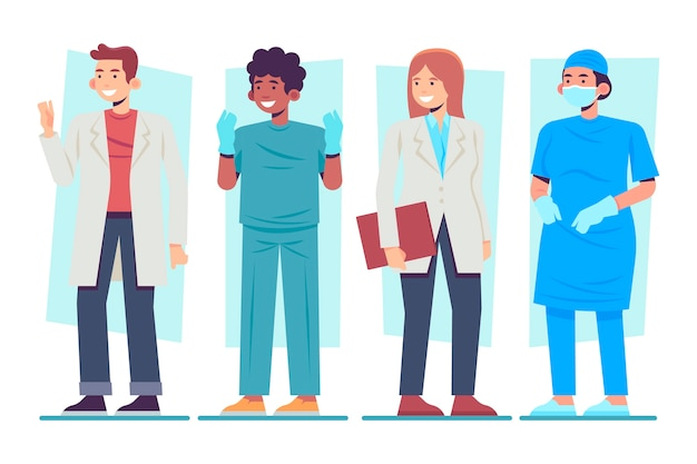 Grupo ilustrado de profissionais médicos e enfermeiros