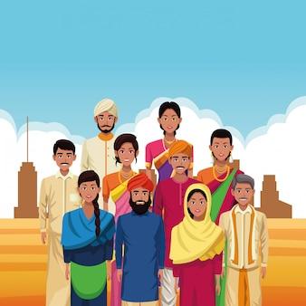 Grupo indiano de desenhos animados da índia