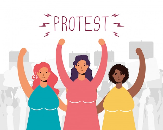 Grupo inter-racial de mulheres protestando
