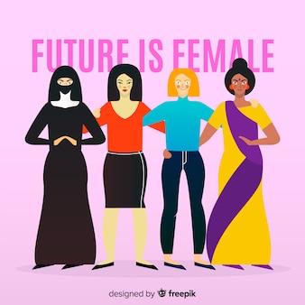 Grupo internacional de mulheres com design plano
