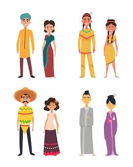 Grupo internacional de povos masculinos e femininos. personagens de diferentes nacionalidades
