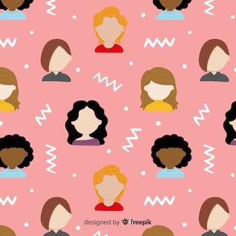 Grupo interracial do padrão de mulheres