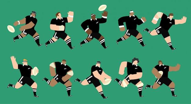 Grupo isolado de 10 jogadores de rugby, correndo e jogando em posições diferentes no jogo. eles estão vestindo camisas e shorts pretos como a seleção da nova zelândia. ilustração em vetor editável