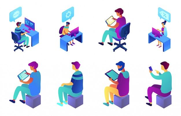 Grupo isométrico da ilustração 3d do operador do homem de negócios e do centro de atendimento.