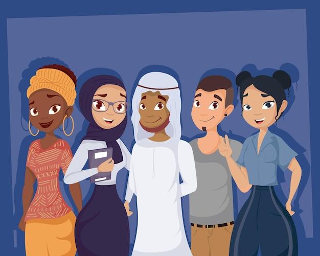 Grupo jovem de personagens da diversidade