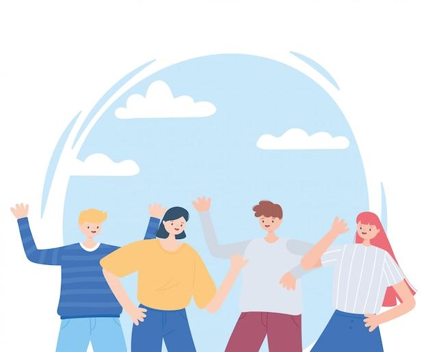 Grupo jovens comemorando personagens cartum ilustração