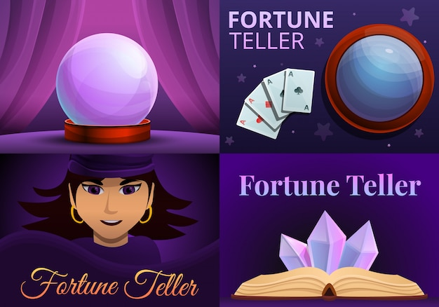 Grupo mágico da ilustração do caixa de fortuna. caricatura, ilustração, de, magia, cartomante