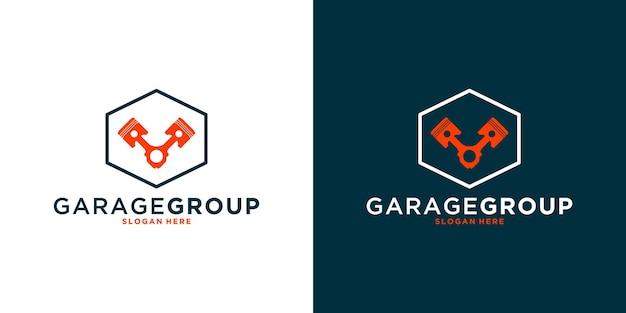 Grupo mecânico, grupo de oficina, design de logotipo com hexágono para o seu negócio ou comunidade