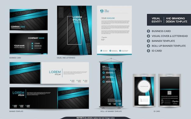 Grupo moderno dos artigos de papelaria do preto azul e identidade visual da marca com fundo abstrato das camadas da sobreposição.