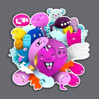 Grupo monstros bonito