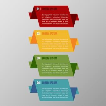 Grupo multicolorido do vetor do molde das bandeiras de infographics e caixa de texto para a disposição da apresentação.