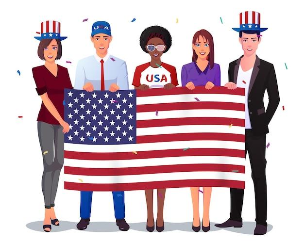 Grupo multicultural de pessoas segurando uma bandeira americana.