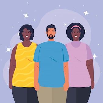 Grupo multiétnico de pessoas juntas, conceito cultural e de diversidade