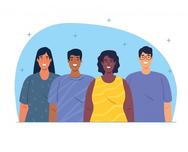 Grupo multiétnico de pessoas juntas, diversidade de mulheres e homens e conceito de multiculturalismo