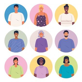 Grupo multiétnico de pessoas juntas em círculos, conceito de diversidade e multiculturalismo