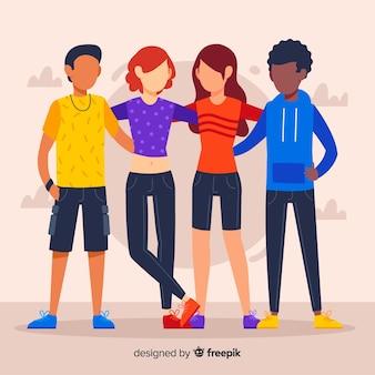 Grupo multirracial plano de pessoas