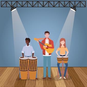 Grupo música banda tocando instrumentos caracteres