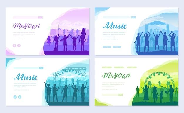Grupo musical executa conjunto de cartão de música. modelo de estilo de vida de folheto, banner da web, cabeçalho da interface do usuário, insira o site.