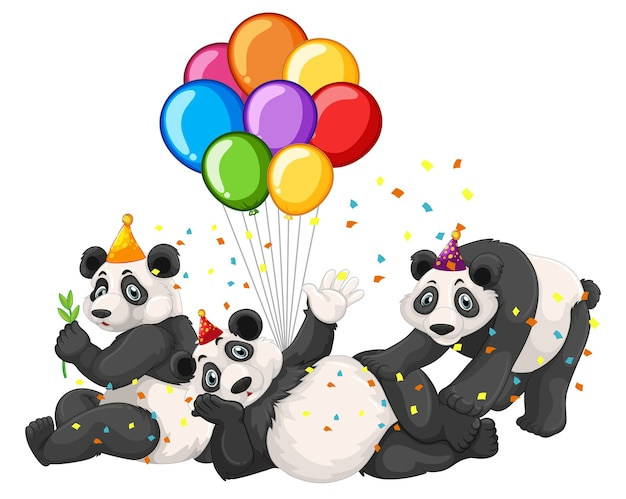 Grupo panda em tema de festa isolado no fundo branco