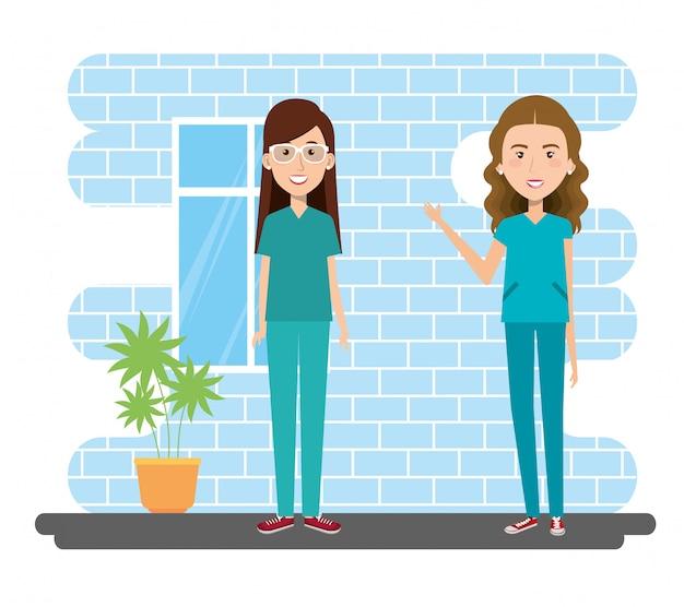Grupo paramédico feminino na ilustração de cena de sala de consulta