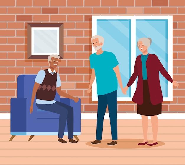 Grupo pessoas idosas casa interior cena