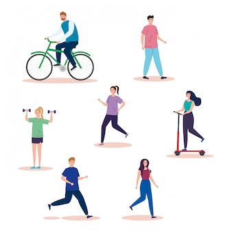 Grupo pessoas praticando atividades avatar personagens ilustração design