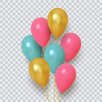 Grupo realista de balões rosa, azul e dourado
