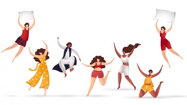 Grupo sem cara dos meninos e meninas que aprecia ou que dança no fundo branco.