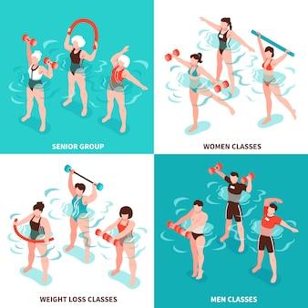 Grupo sênior de classes de homens e mulheres de hidroginástica para pessoas que perdem conjunto de ilustração isométrica de peso