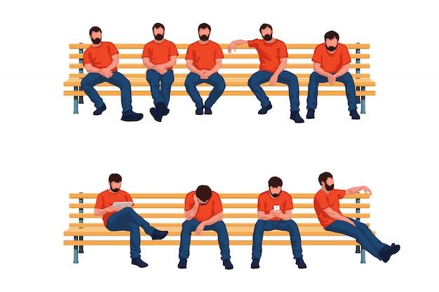 Grupo sentado homens