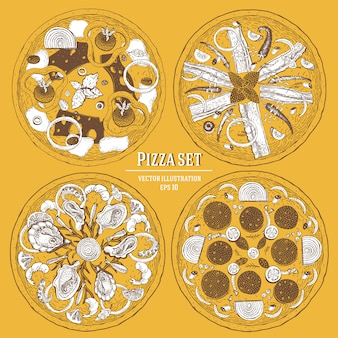 Grupo tirado mão da ilustração do vetor da pizza italiana. pode ser usado para pizzaria, café, restaurante.
