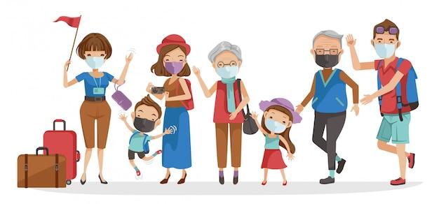 Grupo traval familiar. guias de turismo e grupos turísticos grande família. família feliz. novo conceito normal.