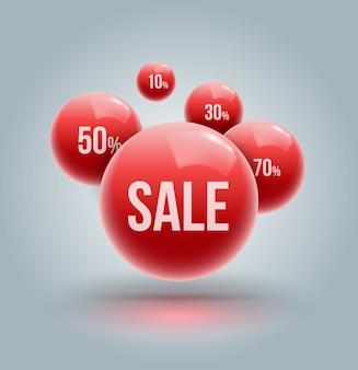 Grupo vermelho das bolas para a promoção e o cartaz da propaganda da venda.