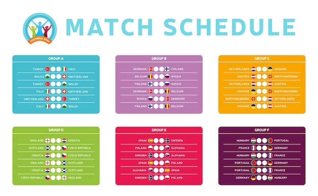 Grupos da fase final do torneio futebol 2020 com ilustração de estoque com programação de jogos
