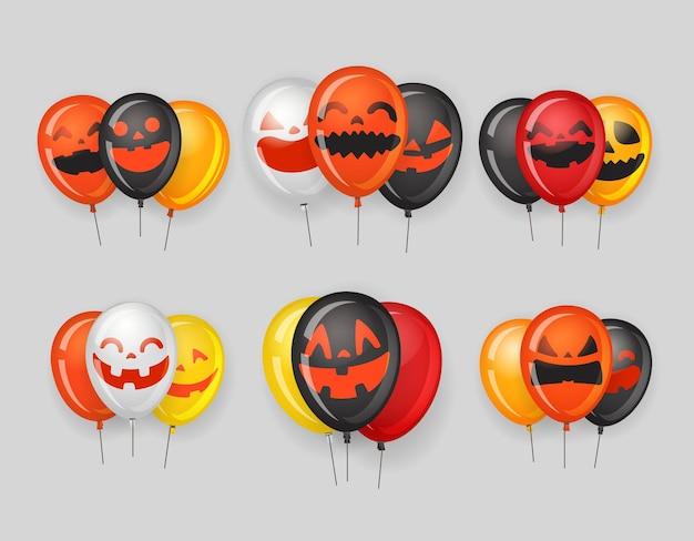 Grupos de balões de festa de halloween com rostos de abóbora.