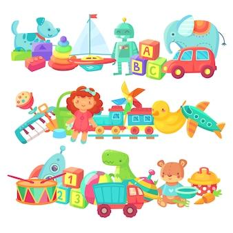 Grupos de brinquedos para crianças. boneca dos desenhos animados e trem, bola e carros