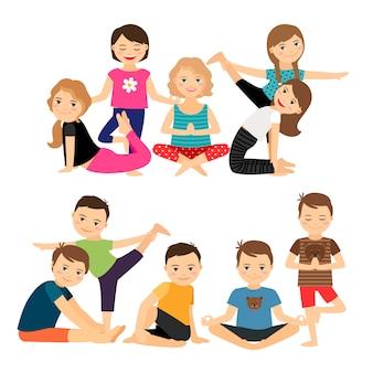 Grupos de crianças em poses de ioga