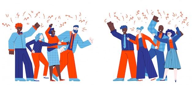 Grupos de pessoas em conflito brigando desenho ilustração.
