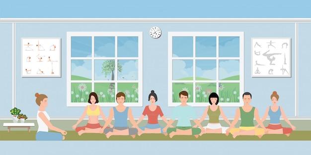 Grupos de pessoas praticando meditação.