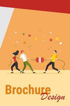 Grupos de pessoas puxando corda em um jogo de cabo de guerra. equipe lutando e competindo entre si. ilustração vetorial para jogo, concurso, competição, conceito de confronto