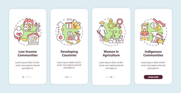 Grupos de risco climático de pobreza integrando a tela da página do aplicativo móvel com conceitos
