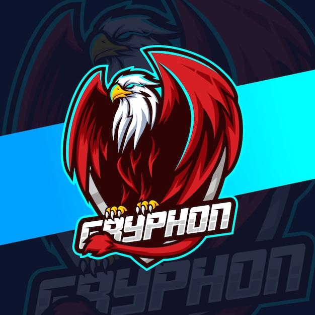 Gryphon mascot esport design de logotipo