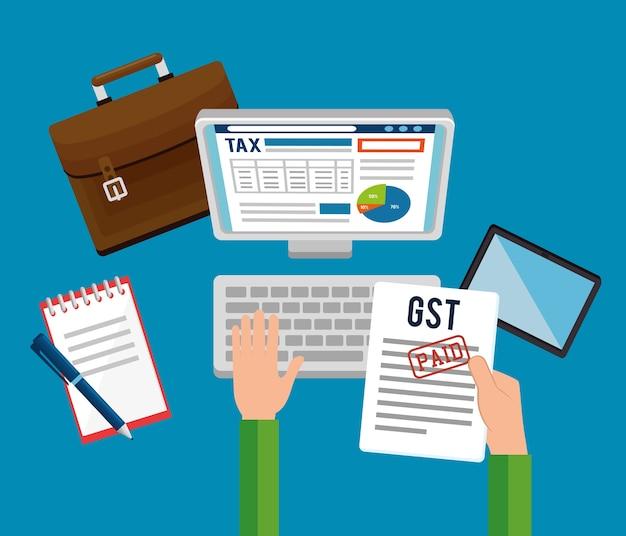 Gst time set elementos ícones vector ilustração design