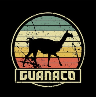 Guanaco vector sunset sillhouete
