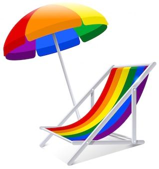 Guarda-chuva de arco-íris e cadeira símbolo férias de praia no verão