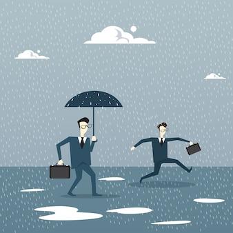 Guarda-chuva de exploração de homem de negócios