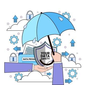 Guarda-chuva de nuvem de segurança de dados guarda-chuva de espera de mão