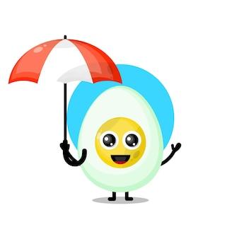 Guarda-chuva de ovo cozido, mascote de personagem fofa